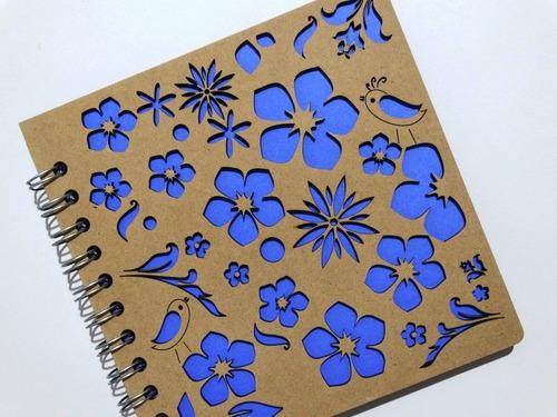 libreta madera corte láser flores y pajaritos