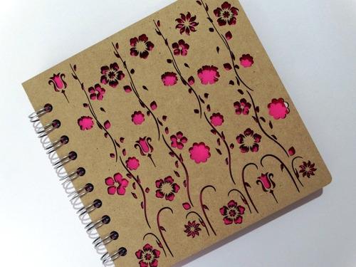libreta madera corte láser guirnalda de flores