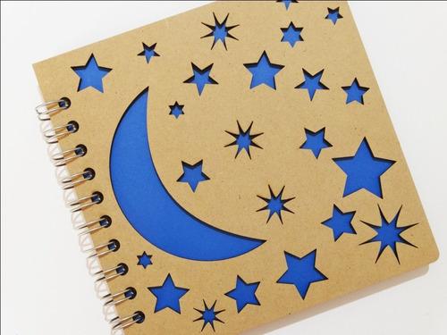 libreta madera corte láser luna y estrellas
