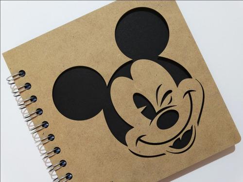 libreta madera corte láser mickey mouse guiño
