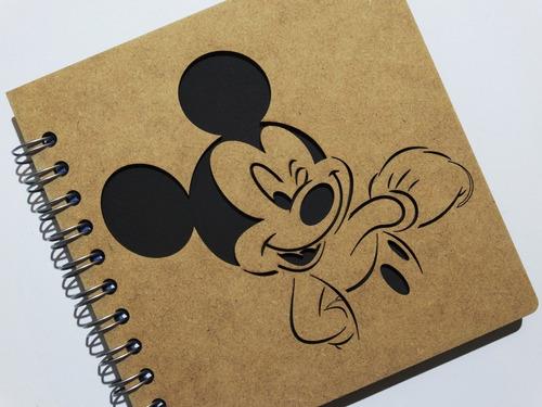 libreta madera corte láser mickey mouse guiño ¡así se hace!