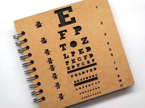 libreta madera corte láser test de snellen exámen optometría