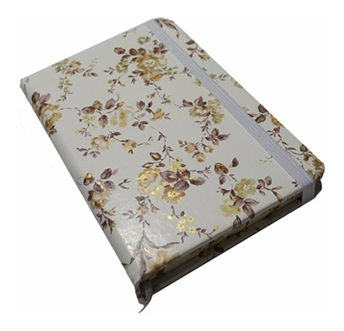 libreta rayada elástico tapa dura mediana flores | escool