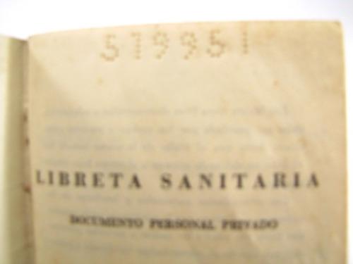 libreta sanitaria. republica argentina