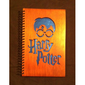 Libreta Pasta De Madera Harry Potter Azul