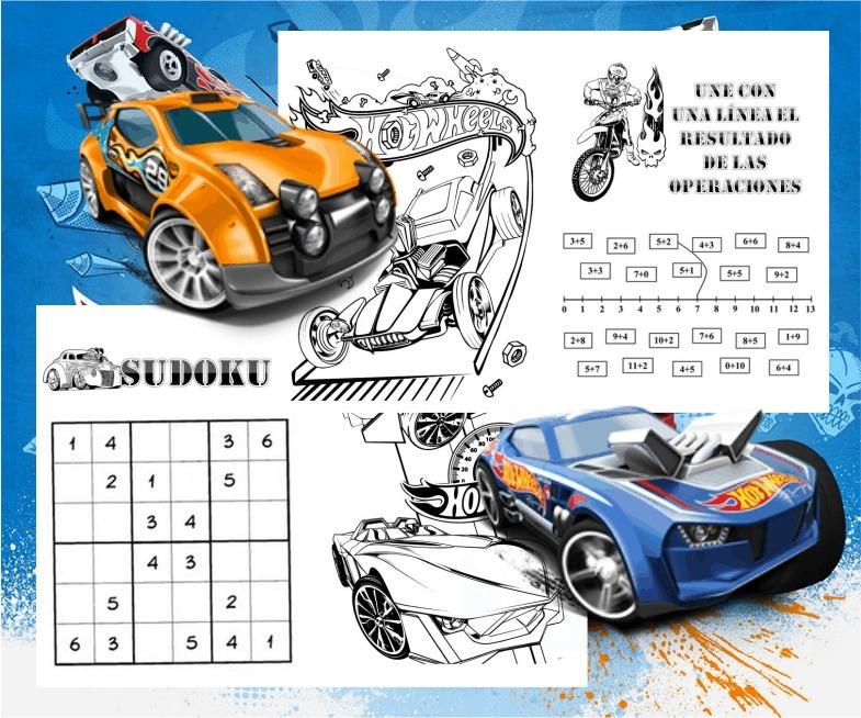 Libritos Para Colorear Actividades Hot Wheels Coches S141