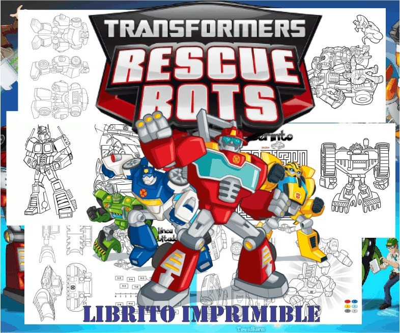 Libritos Para Pintar Colorear Rescue Bots Transformers S179