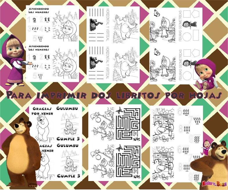 Libritos Pintar Y Actividades Imprimible Masha Y El Oso 2x1 - $ 65 ...