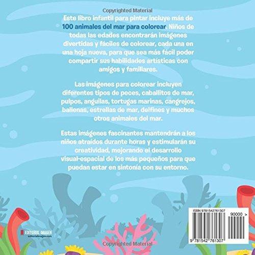 Libro 100 Animales Del Mar Para Colorear Dibujos Para