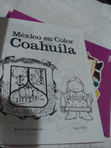 libro 5 piezas mexico en color , coahuila, cuaderno para ilu