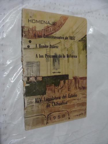 libro año 1958 , homenaje a los constituyentes a benito juar