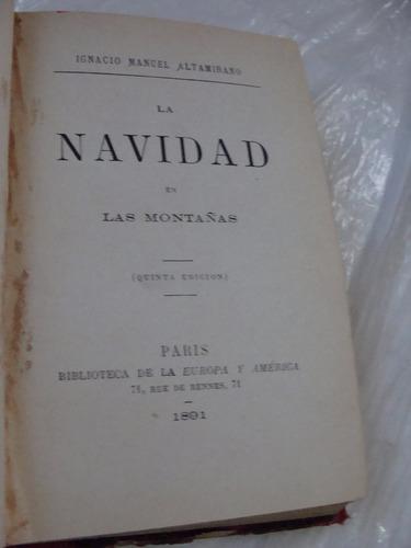 libro antiguo año 1891 la navidad en las montañas , altamira