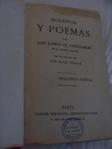 libro antiguo sin fecha , doloras y poemas ,  don ramon de c