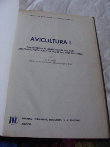 libro avicultura i , caracteristicas generales , año 1973 ,