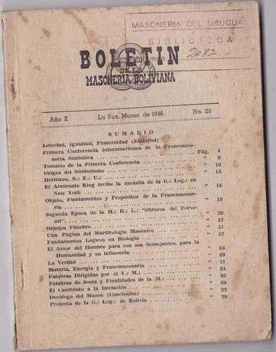 libro - boletin masoneria boliviana - la paz - marzo 1946