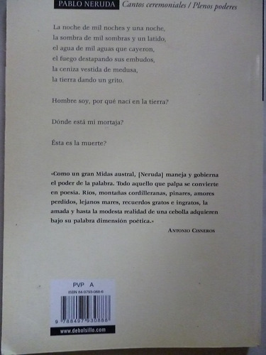 libro cantos ceremoniales / plenos poderes pablo neruda