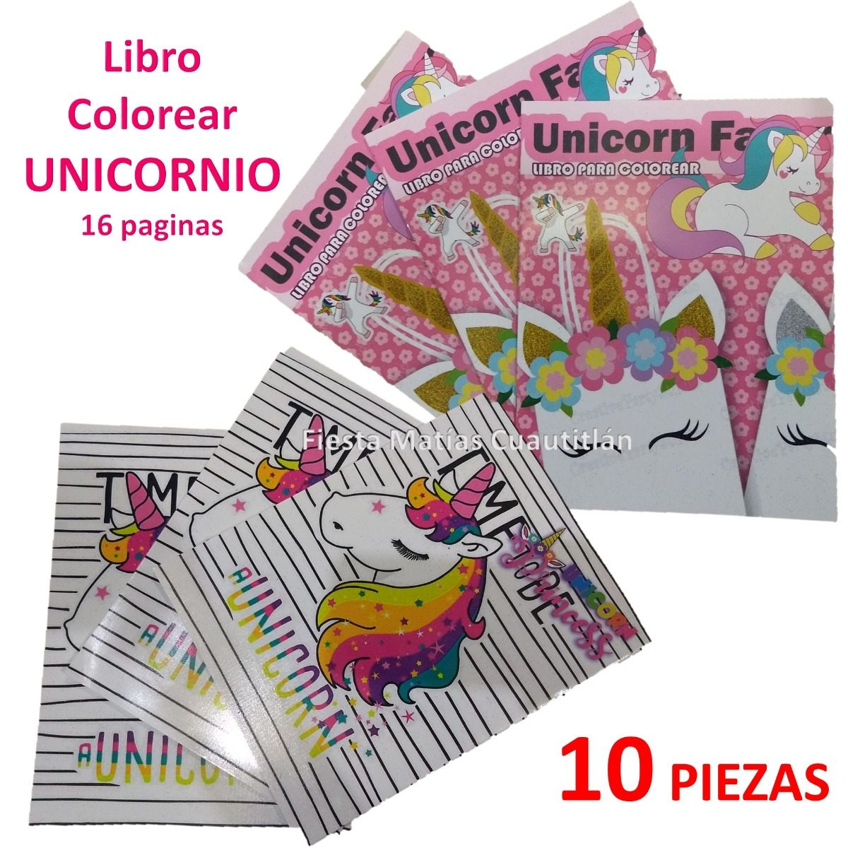 Libro Colorear Unicornio Pony Little Fiesta Niña 10 Piezas - $ 70.00 ...