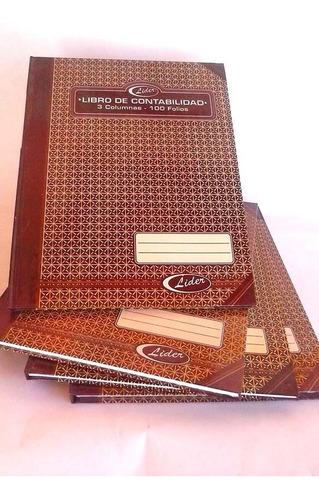 libro contabilidad 3 columnas 100 folios stefalcon