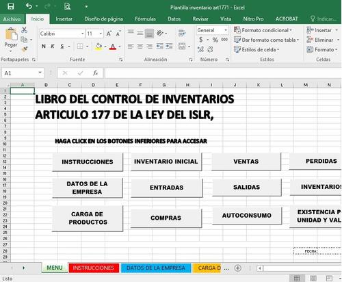 libro control de inventarios 2019 excel art177 ley islr r m
