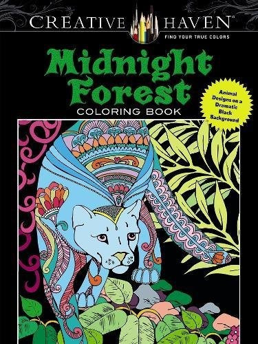 libro creative haven midnight forest coloring book: animal