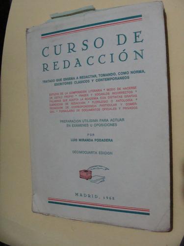 libro curso de redaccion , luis miranda   , año 1968 , 206 p