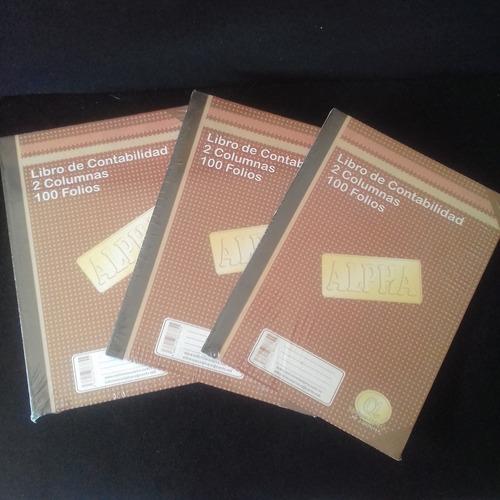 libro de contabilidad 2 columnas,  100 folios.