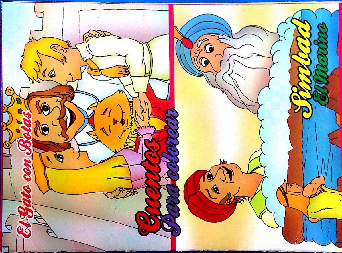 Libro De Cuentos Y Colorear Del Gato Con Botas Y Simbad - Bs. 1.499 ...