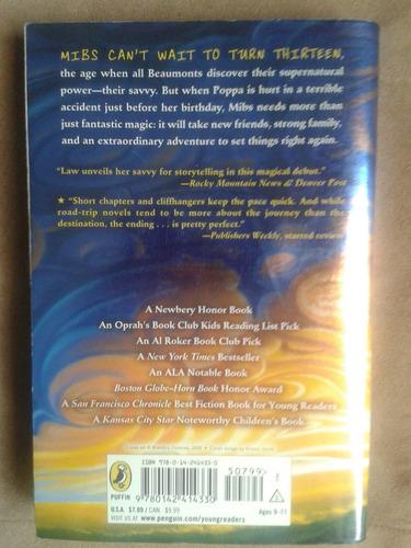 libro de ficción en inglés  savvy - ingrid law