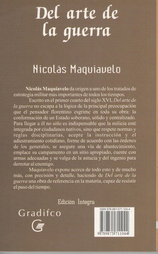 libro de filosofía : el arte de la guerra - n. maquiavelo