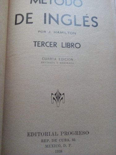 libro de inglés antiguo 1938 método de inglés hamilton