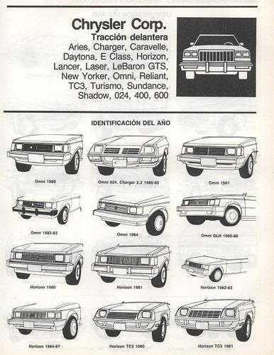 libro de taller plymouth turismo, 1979-1986, envio gratis