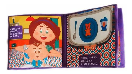 libro de tela didactico para bebes: bebe a comer educando