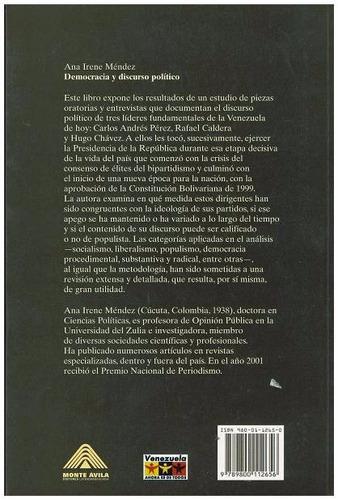 libro, democracia y discurso político de ana irene méndez.