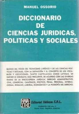 libro, diccionario de ciencias jurídicas de manuel ossorio.