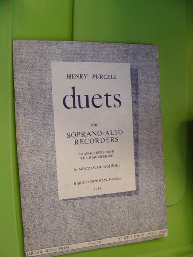 libro henry purcell , duets for soprano alto recorders , 12