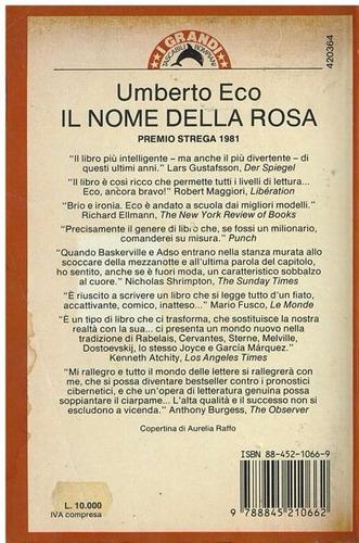 libro, il nome della rosa de umberto eco.