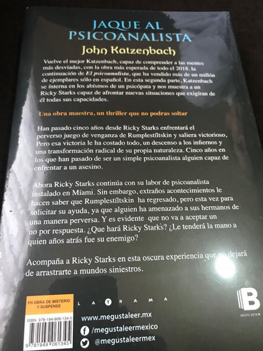 libro jaque al psicoanalista /  john katzenbach + regalo