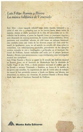 libro, la música folklórica venezuela luis felipe ramón y r.