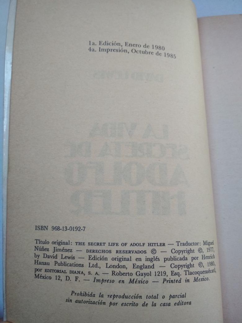 Libro La Vida Secreta De Adolfo Hitler Por David Lewis - $ 150.00 en  Mercado Libre