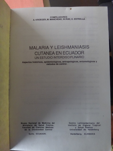 libro malaria y lesmaniasis cutanea en ecuador