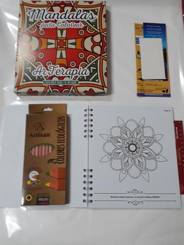 libro mandalas de 55 páginas + 24colores ecologicos