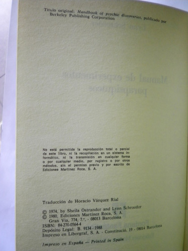 libro manual experimentos parapsiquicos ostrander schroeder