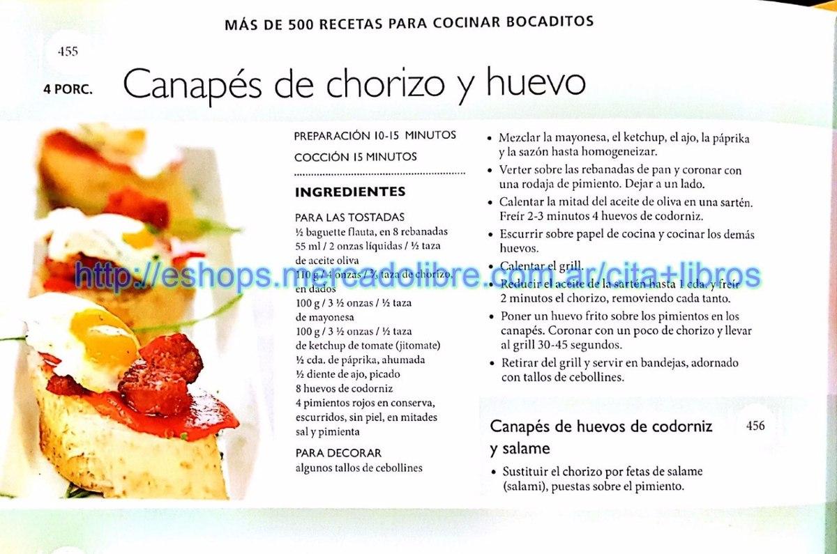 Libro Más De 500 Recetas Para Cocinar Bocaditos Grupo Clasa