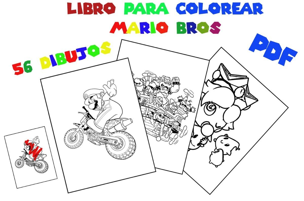 Libro Para Colorear Mario Bros 56 Paginas Imprimible Pdf 15 00