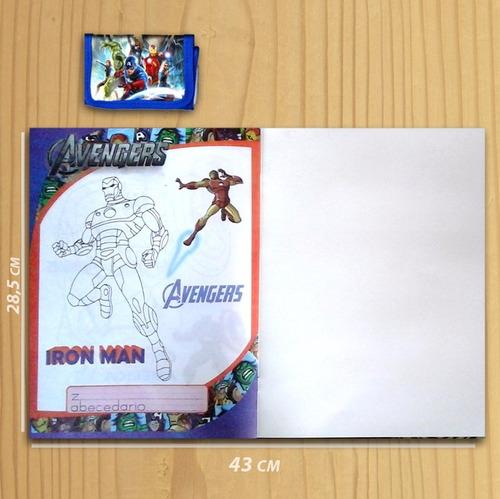 libro para colorear the avenger + billetera de superheroes