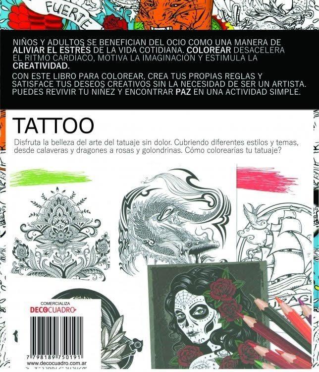 Libro Para Pintar Colorear Tatuajes Tattoos 60 Pag Antistres - $ 349 ...