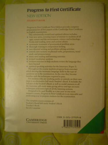 libro  progress to first certificate, student´s book
