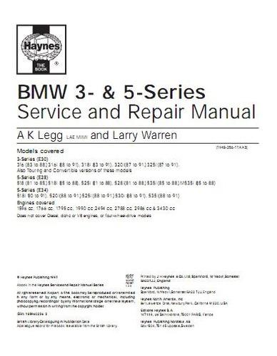 libro taller bmw 518i, 520i, 525i, 530i, 535i e34, 1988-1991