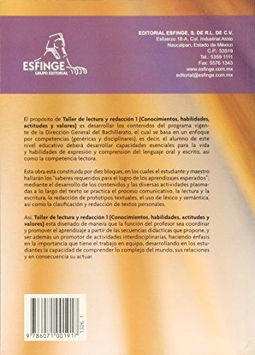 TALLER DE LECTURA Y REDACCION I. DGB