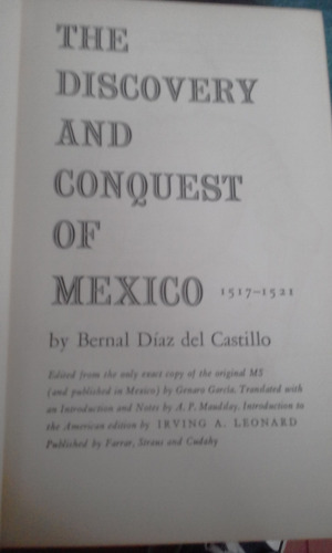 libro the discovery and conquest of mexico 1517-1521